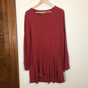 Flax Maroon Red Tunic Top Pockets Ruffle Hem